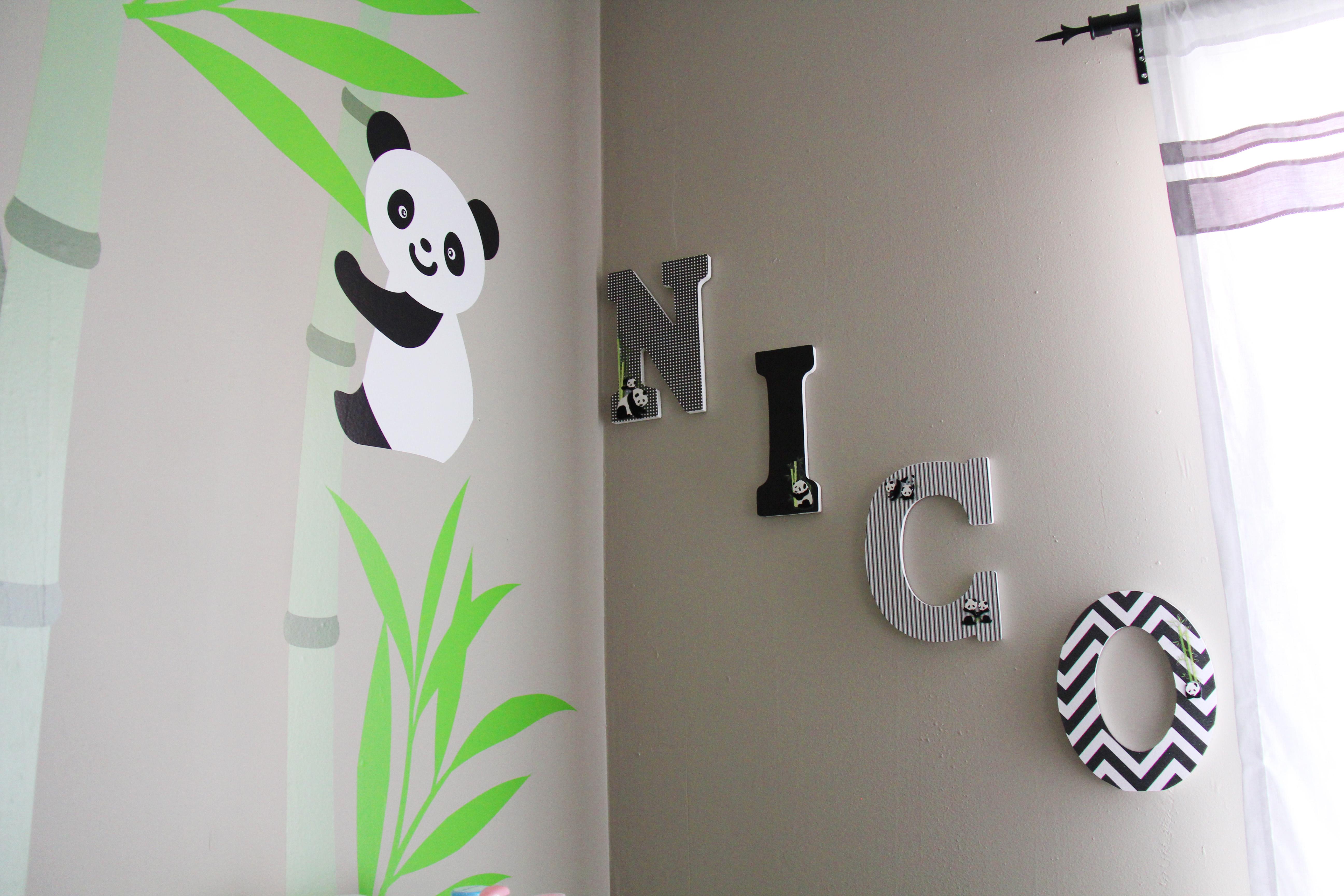 diy decorate wooden letters for nursery popcorn and pandas. Black Bedroom Furniture Sets. Home Design Ideas