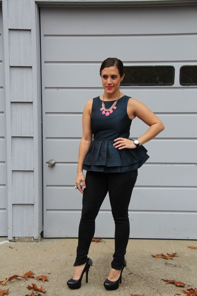 Navy Peplum and Black